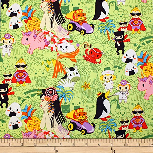- Trans-Pacific Textiles Oriental Anime Tomadachi Unite Green Fabric by The Yard