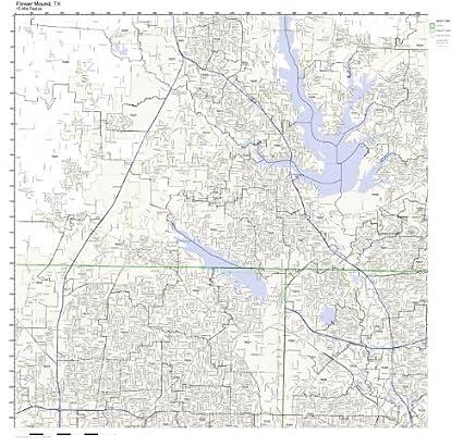Flower Mound Zip Code Map.Amazon Com Flower Mound Tx Zip Code Map Not Laminated Home Kitchen