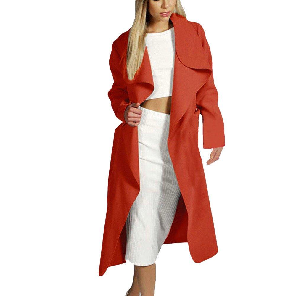BOOMJIU Women's Slim Long Coat Solid Jacket Trench Windbreaker Fashion Outwear Lapel Cardigan