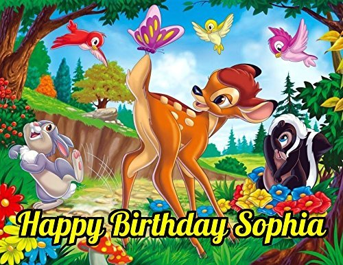 Bambi Edible Image Photo Cake Topper Sheet Personalized Custom Customized Birthday Party - 1/4 Sheet - - Bambi Picture