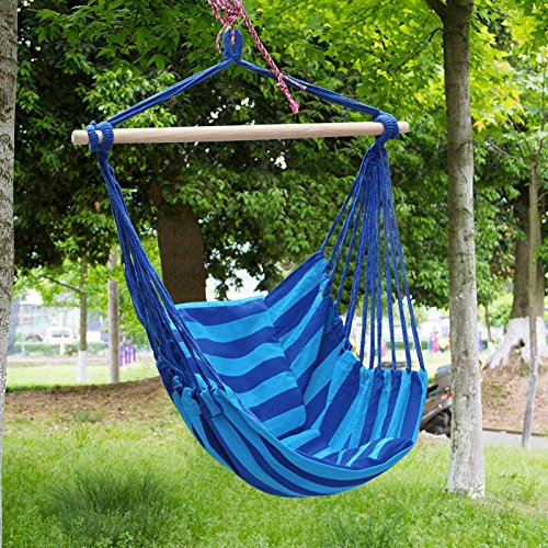 Amazon.com : Moontree Hammock Swing Bed Hanging Rope Chair Swing Chair  Hammock Chair Blue : Garden U0026 Outdoor