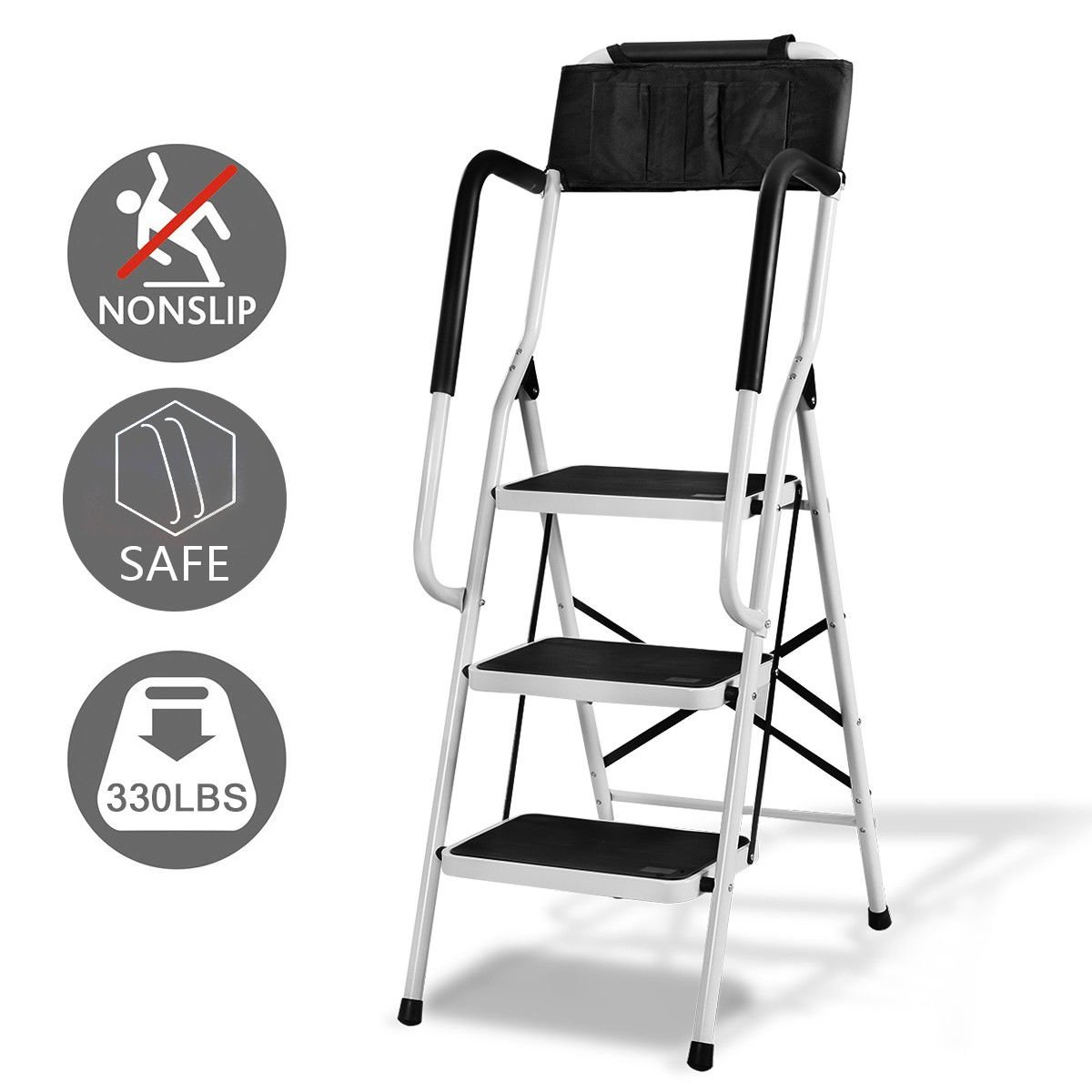 Giantex Folding 3 Step Ladder W/Padded Side Handrails Non-Slip Steps Tool Pouch Caddy Lightweight Powerful Capacity by Giantex (Image #6)