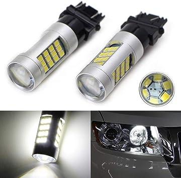 A Pair Xenon White 6000k Cree Daytime Running Light Bulbs 3157 3056 for GMC