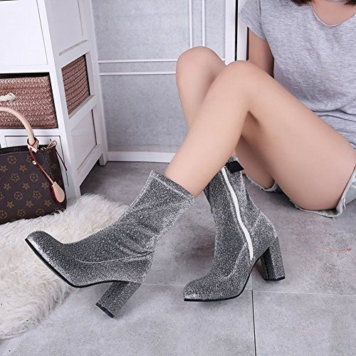 Boots Head Zipper Boots the Women Heeled EUR 35 side High Martin silver in 5 Thick Boots round Waterproof Platform with qxdZnwpq4