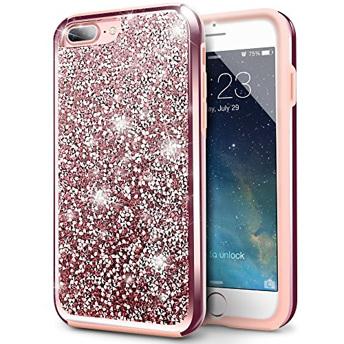 iPhone 8 Plus Case, iPhone 7 Plus Case, Silverback Girls Bling Glitter Sparkle Cover, Hard PC Back + Soft TPU Inner Shell Dual Layer Shockproof Case for Apple iPhone 8 / 7 Plus -Rose Gold