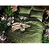 BEIRU Washed Silk Cotton Four-piece Solid Color Quilt 1.8 Meters Satin Silk Ice Silk Sheets Sheets ZXCV (Color : Green, Size : 200230cm)