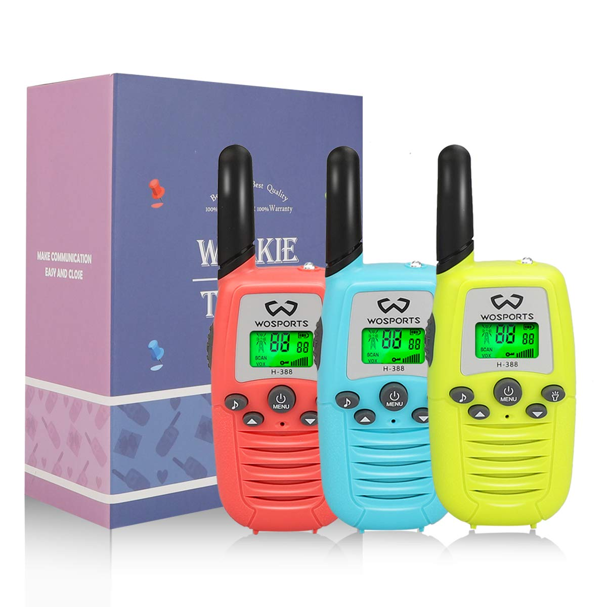 WOSPORTS Kids Walkie Talkies, 3 Pack Two Way Radios with Belt Clip, 3 KM Range Children Toy for Outdoor Adventures Game, Camping, Hiking by WOSPORTS (Image #7)