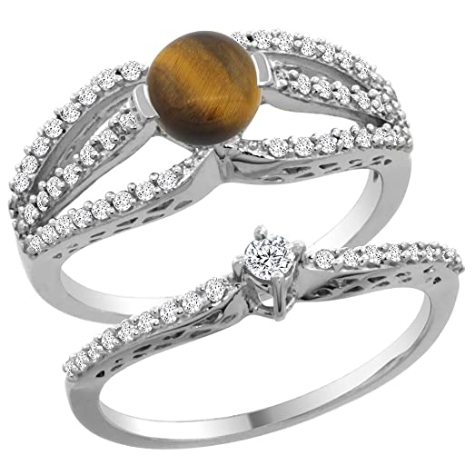 14K White Gold Natural Tiger Eye 2 Piece Engagement Ring Set Round 5mm Size