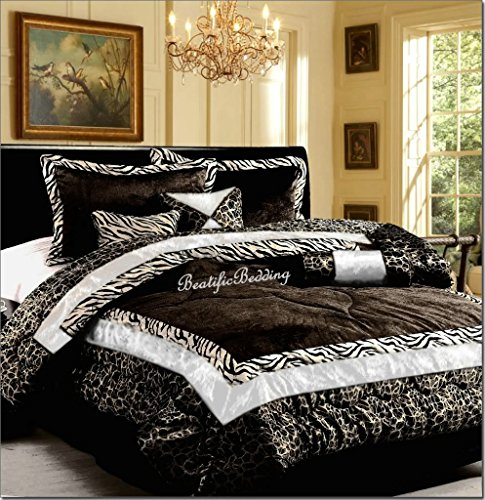 Dovedote 7 Piece Safarina Zebra Animal Print Comforter Set, Black, King (Animal Print Comforter Sets King)