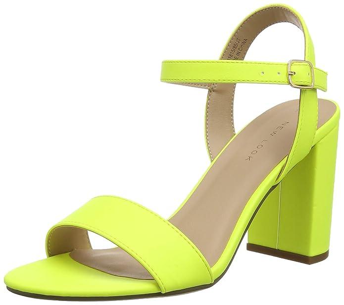 Sandalias de tacón baratas de color amarillo neón fosforito