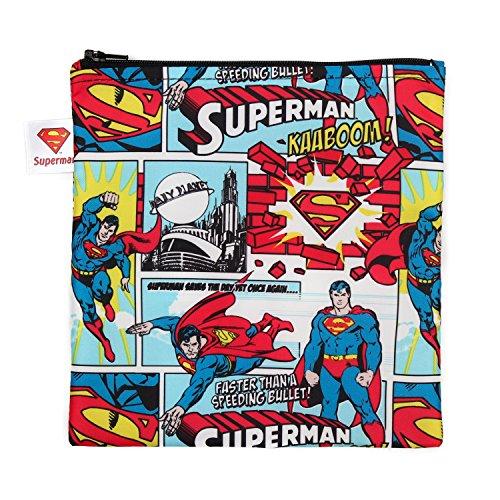 Bumkins DC Comics Superman Sandwich Bag / Snack Bag, Reusable, Washable, Food Safe, BPA Free, 7x7 ()