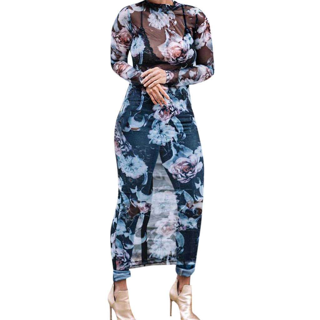Euone Dress Clearance, Women's Perspective Floral Printed Bohemia Muslin Sundress Voile Long Dress