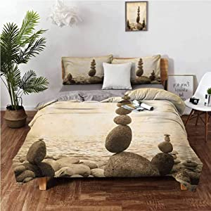"""Ocean Duvet Cover Set Coastal Shore Calm Water Zen Print Sepia Big and Small Rocks Pebbles Grunge Artsy Cover 3 Piece Set (1 Duvet Cover,2 Pillow Shams) Solid Soft and Breathable - Twin 68""""x90"""""""