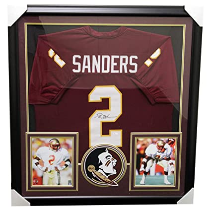 e87a0c6f4df Image Unavailable. Image not available for. Color: Deion Sanders  Autographed Signed Florida State Seminoles Framed Garnet Custom Jersey ...