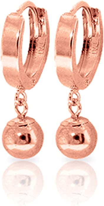 Details about  /Real 14kt Rose Gold Hinged Hoop Earrings