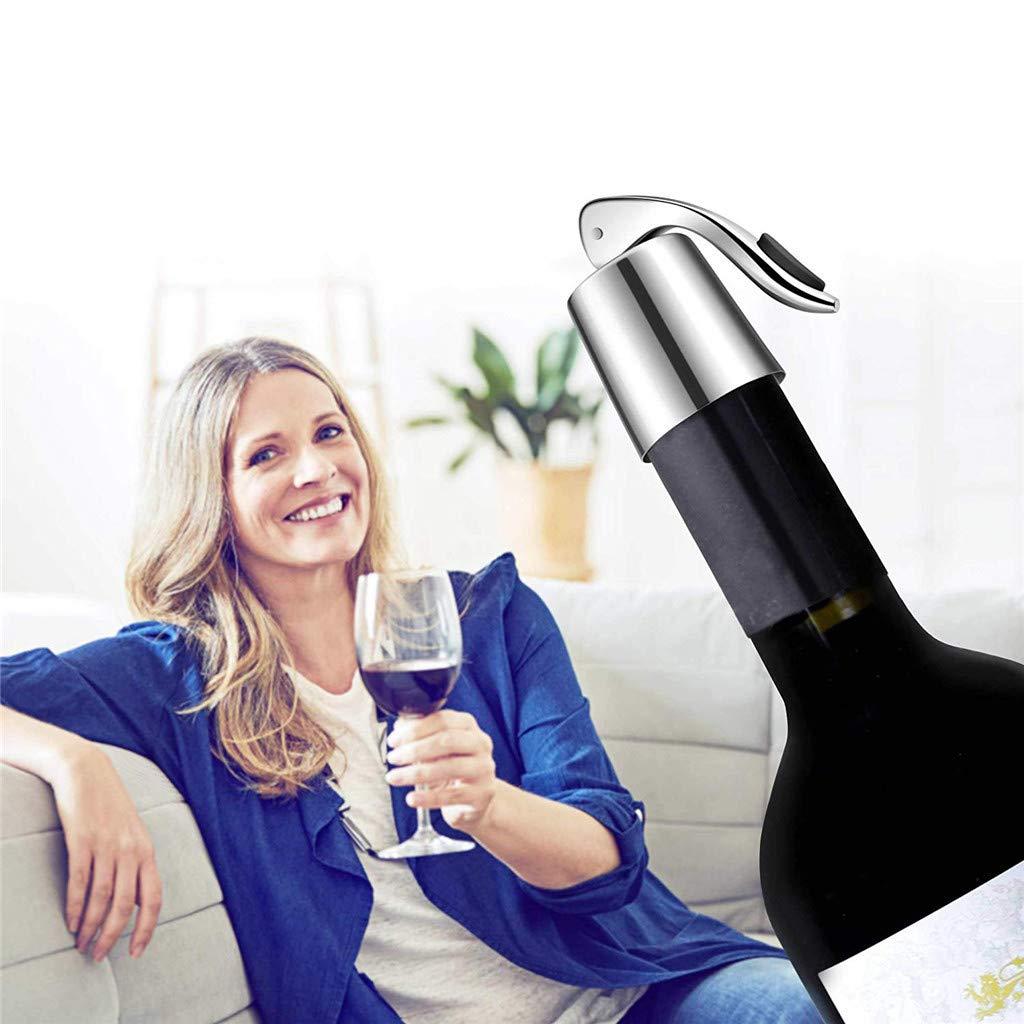 Wine Bottle Stopper Stainless Steel GoodLock Wine Bottle Plug, Drink Beverage Bottle Stopper, Reusable Wine Saver, Bottle Sealer Keeps Wine Fresh, Best Gift Accessories