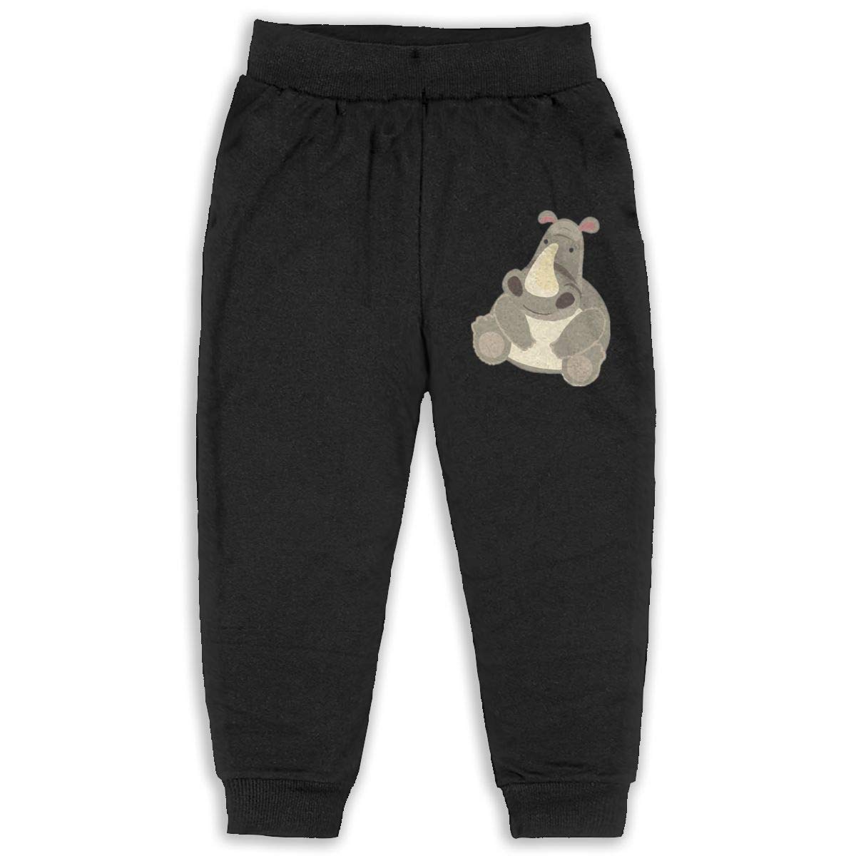 LFCLOSET Cartoon Cute Hippo Children Active Jogger Sweatpants Basic Elastic Sport Pants Black