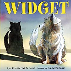 A stray dog pretends he's a cat in order to get a home              When Widget, a little stray dog, stumbles through a flap door into the home of Mrs. Diggs, he sees six cats, six bowls of food, and six warm beds. There's cle...