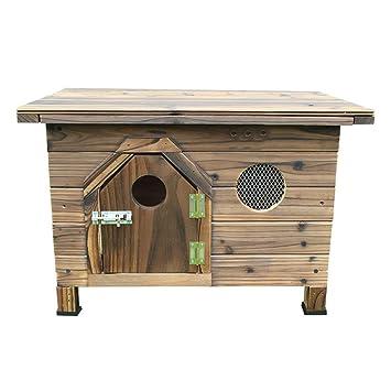 KYCD Puro Abeto Mascota Pequeña Casa Madera Carbonizada Exterior Interior Cubierta Plana Casa de Madera Casa