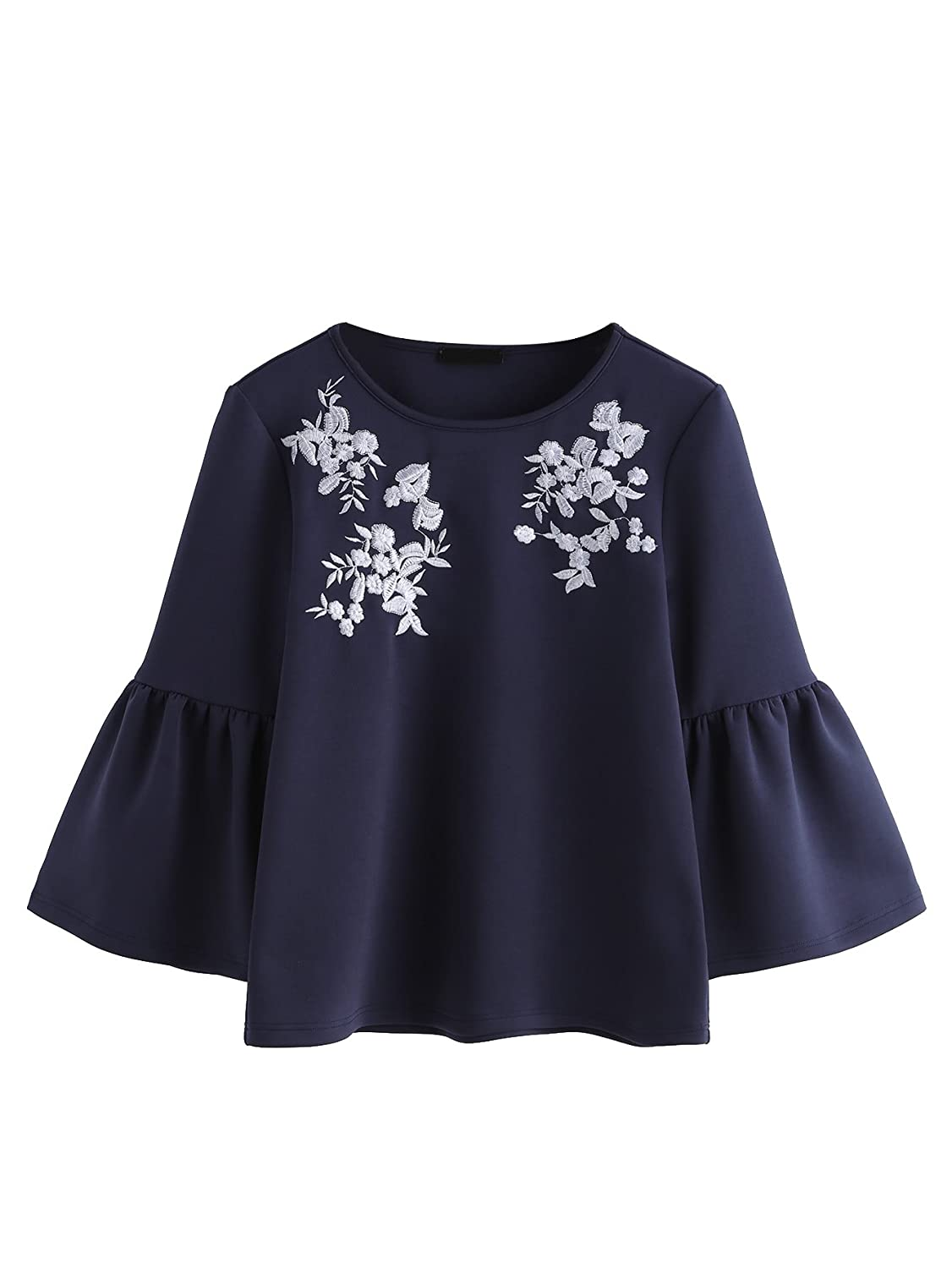 79895a70bfe309 Romwe Women's Cute Round Neck Embroidered Bell Sleeve Blouse Top at Amazon  Women's Clothing store: