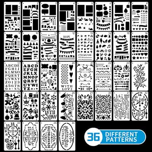 Includes Cute Assorted Shapes and Calligraphy Letters for Creative Writing Artwork and Doodling Erin Condren Designer Stencil Sheet 2 Measures 4.38 x 6 Pack