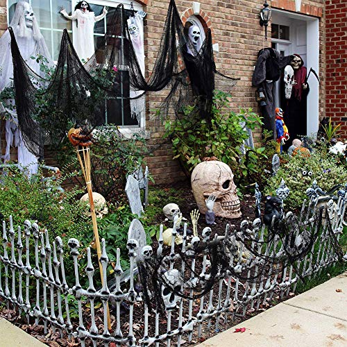 Lingstar Halloween Black Creepy Gauze Decorated Scary Cloth Drape Doorways Entryways Window Cover Gauze Creepy Spooky Halloween Decorations Props, 3040 Inches]()