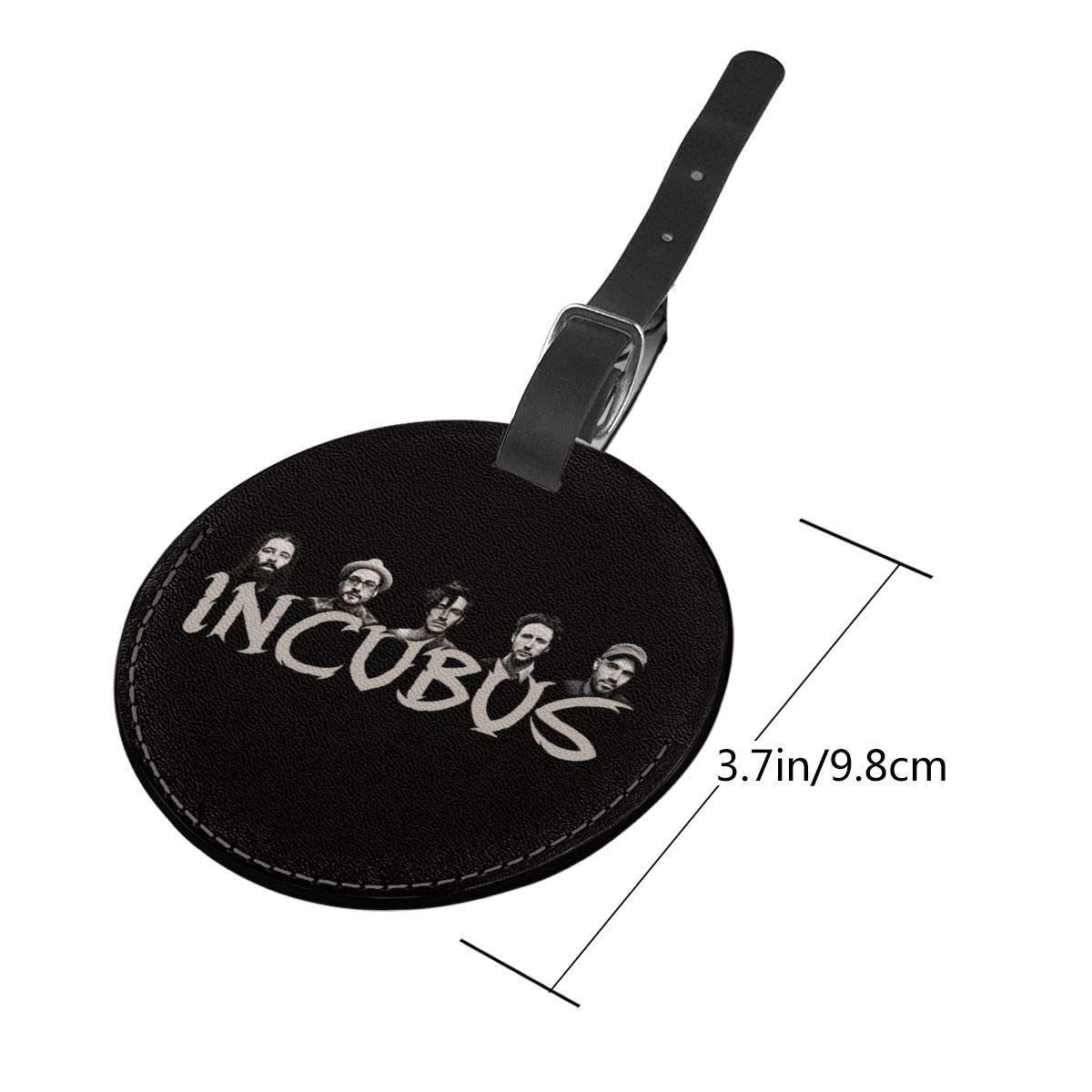 Incubus Logo Travel Leather Round Luggage Tags Suitcase Labels Bag