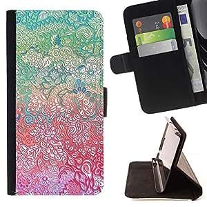 For Apple iPhone 5C Case , Flores Bellas Pretty Girl detallada- la tarjeta de Crédito Slots PU Funda de cuero Monedero caso cubierta de piel