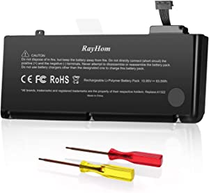 RayHom A1322 A1278 Battery Replacement for MacBook Pro Mid 2012 2010 2009 Early &Late 2011 13 Inch High Capacity [63.5Wh/10.95v]