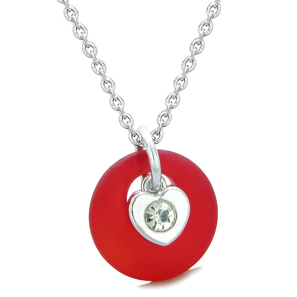 Sea Glass Lucky Donut Crystal Heart Charm Adorable Royal Red Positive Energy Amulet 22 Inch Necklace