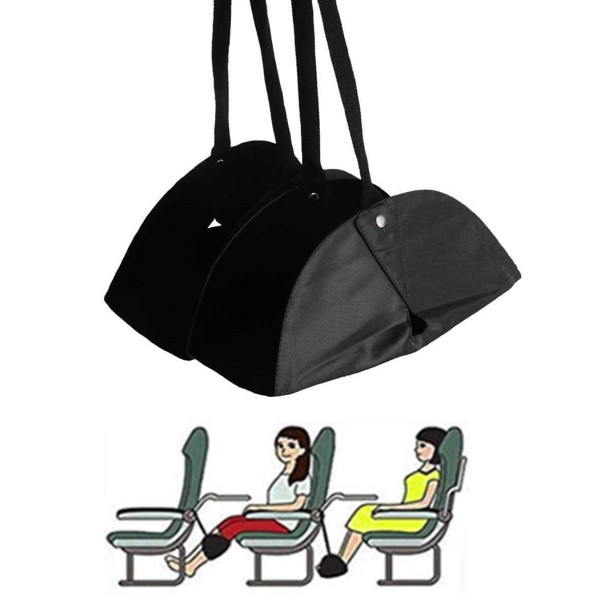 Airplane Foot Rest Hammock, Yigou Portable Travel Accessories Adjustable Height with Separate Footrest Design for Flight Relaxation and Comfort, Black