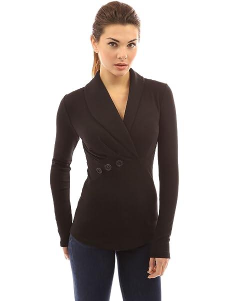 PattyBoutik Mujer Chal Collar Plisada Blusa Detalle (Negro 34)