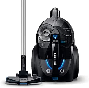 Philips Power Pro Expert Bagless Vacuum Cleaner FC9732, Black, PowerCyclone 8 technology separates dust from air, TriActive+ nozzle for 3-way cleaning action, H13 filter system captures >99.9% dust.