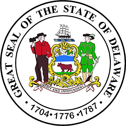 Oval seal of Delaware 4x4 inches sticker decal die cut vinyl - Made and Shipped in USA