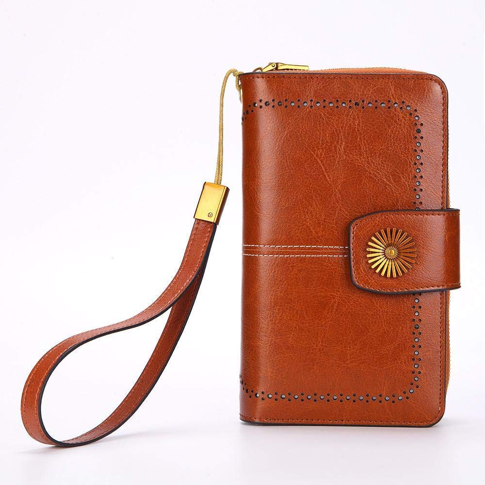 Girls Purse Women's Wallet Oil Wax Leather Large Zip Zipper Bag Multifunction Mobile Phone Bag