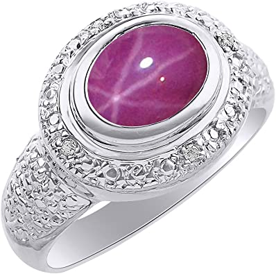 Color Stone Birthstone Ring Diamond /& Star Ruby Ring Set In Sterling Silver