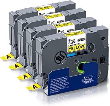 3PK Black on Yellow Label Tape For Brother TZe-621 TZ-621 PT-D400 P-touch 9mm 8m