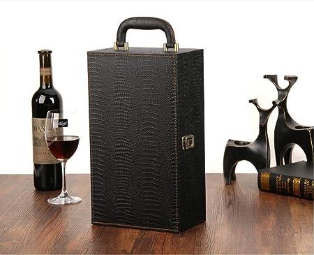 LILONGCEstuche para Vino con Estuche Doble Estuche de Cuero Estuche para Uvas Caja de vinos Caja de vinos Universal 2 Palos: Amazon.es: Hogar