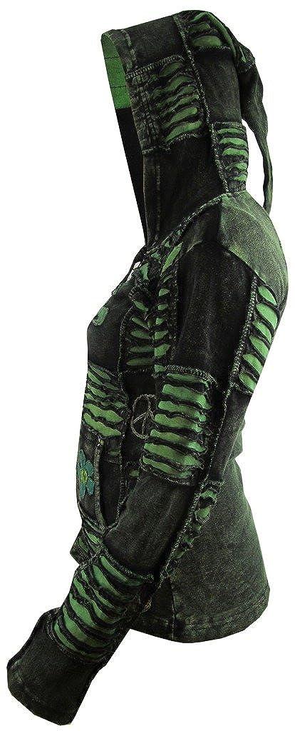 Little-Coton d/élav/é Katmandou Femme Gothic Emo Funky Om brod/é Pointed Pixie hotte aspirante Veste /à Capuche Manteau