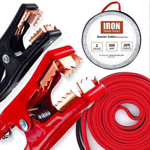 Iron Forge Tools 20 Foot Jumper Cables with Carry Bag - 2 Gauge, 500 AMP Booster Cable Kit (Connect Booster Cables)