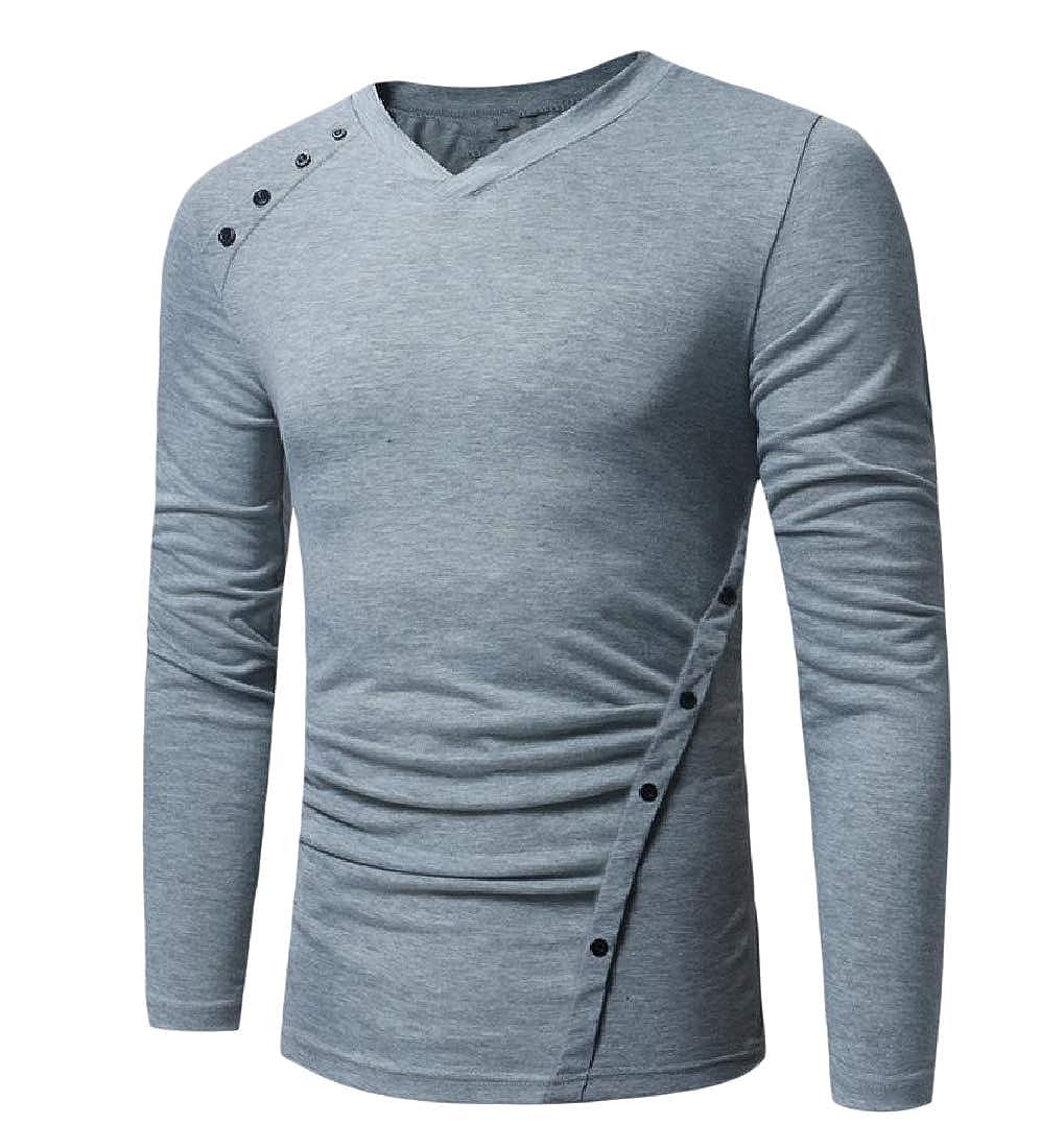 Sebaby Men V-Neck Baggy Long Sleeve Pullover Skinny Blouse T-Shirt Tops