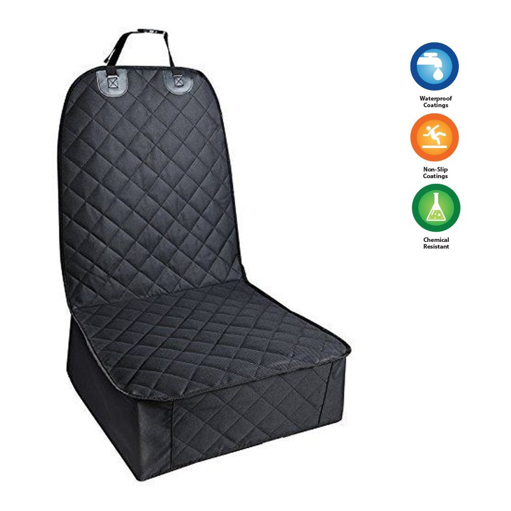 PetDeluxe Pet Seat Cover, Front Seat Cover for Dogs Cats and Other Pets, Car Mat, WaterProof & Nonslip Rubber Backing with Anchors