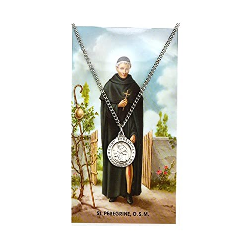 "e54fde459c5 Image Unavailable. Image not available for. Color: Silver Tone, St.  Peregrine Medal and Prayer Card Set, 18"" L Chain"