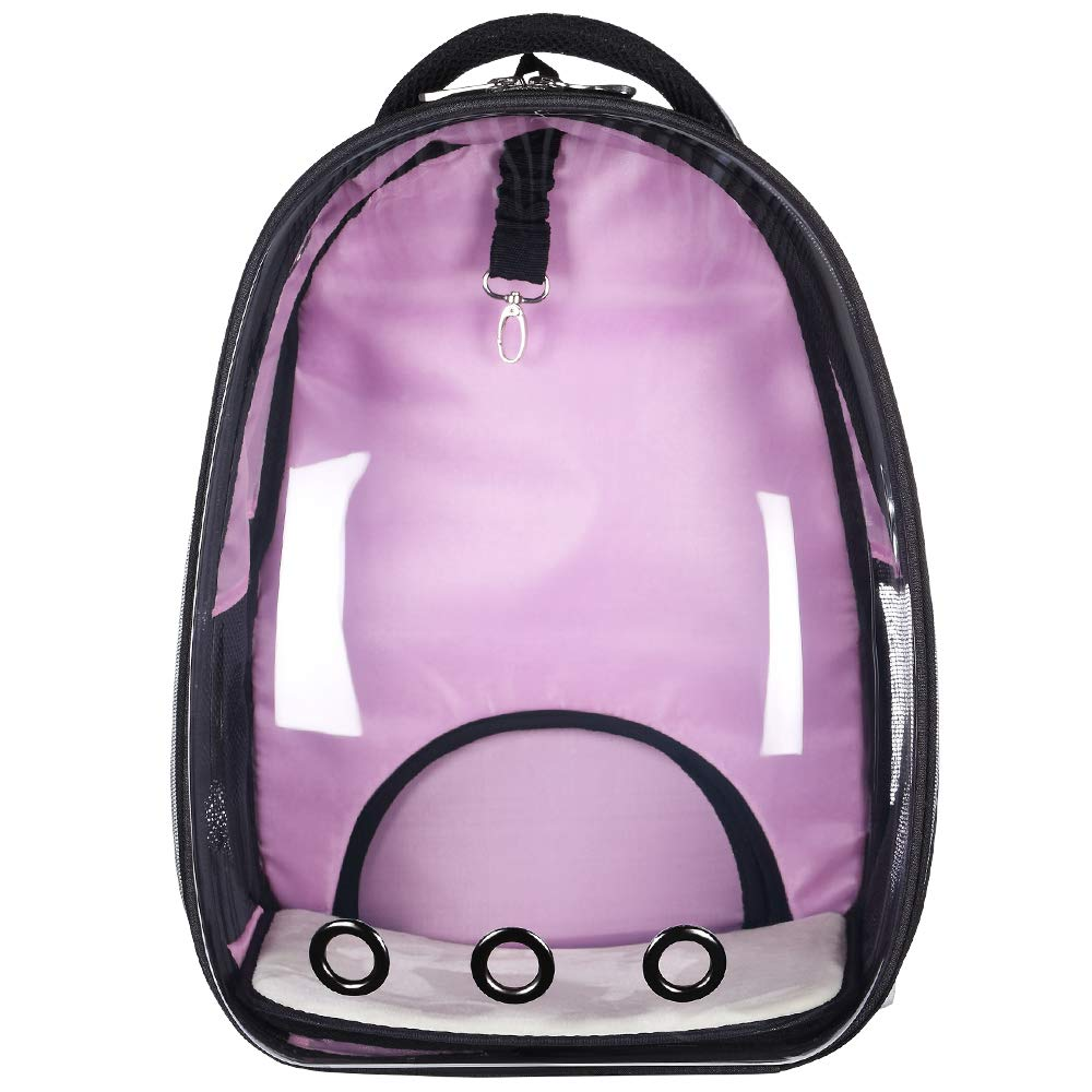 Pink BenchMart Transparent Portable Travel Pet Carrier, Fashionable Space Capsule Bubble Cat Dog Carrier Backpack, Breathable Carriers for Small Medium Cats Dogs (Pink)