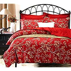 Wake In Cloud - Red Floral Duvet Cover Set, Vintage Flowers Pattern Printed, Soft Microfiber Bedding with Zipper Closure (3pcs, Queen Size)