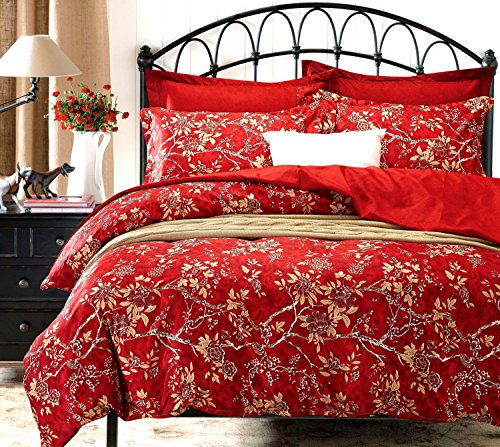 Red Duvet Cover Set, Floral Flowers Printed Soft Microfiber Bedding, with Zipper Closure (3pcs, Queen Size) Cotton Toile Comforter