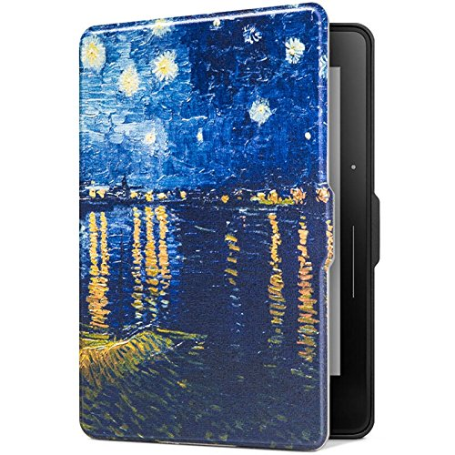 Ayotu Colorful Shell for Kindle Voyage E-reader Auto Wake and Sleep Smart Protective Cover, Case for 2014 Kindle Voyage Case, Painting Series KV-08 The Starry Night - Cover Rhone