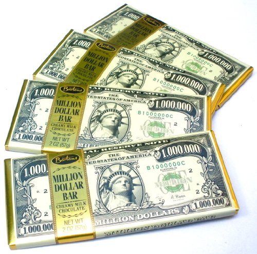 Chocolate Lovers Pack Of 4 Million Dollar Bill Currency Themed Milk Chocolate Candy Bars (Chocolate For A Dollar)