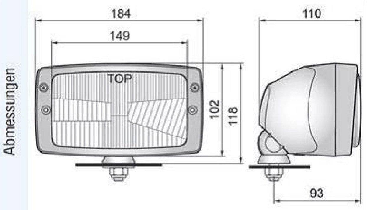 Hauptscheinwerfer H4 12//24V Scheinwerfer Traktor Schlepper mit Standlicht-Funktion 25777
