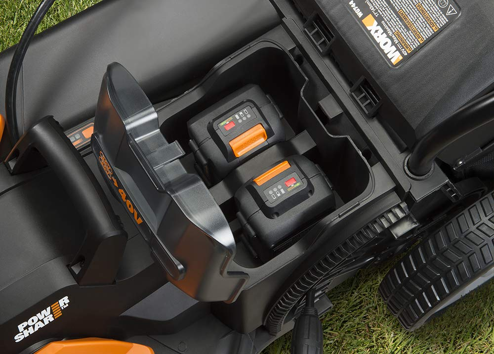 Worx wg744 cordless lawn mower 8 the 17 inches mower includes 2 removable 20v 4; 0ah batteries that delivers 40v power and performance patented intellicut provides additional torque on demand and the ability to conserve battery when desired premium 2 in 1 design that mulches, bags and rear discharges and includes a quick single lever cutting height adjustment.